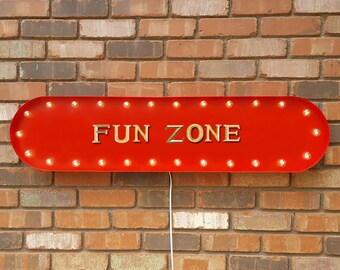 "On Sale! 39"" FUN ZONE Play Area Kids Room Playroom Vintage Style Rustic Metal Marquee Light Up Sign"