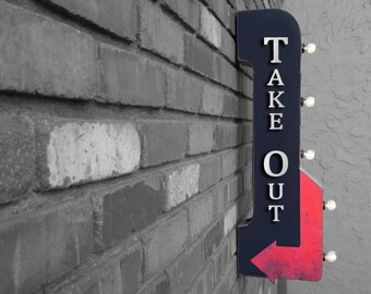 """On Sale! 30"""" TAKE OUT - Metal Arrow Sign - Plugin or Battery Operated - Check Out Pick Up To Go Pay - Double Sided Rustic Marquee Light Up"""