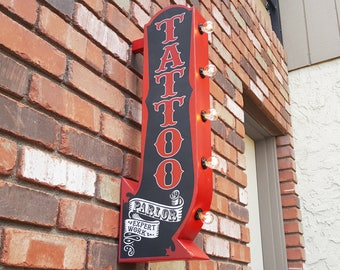 ON SALE! Plug-In or Battery. Tattoo Parlor Shop Expert Work. Inked Tatt Double Sided Metal Vintage Style Rustic Marquee Light Up Arrow Sign
