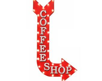 "On Sale! 48"" COFFEE SHOP Metal Arrow Sign - Shop Cafe Espresso Shot Mocha - Vintage Rustic Curved Marquee Light Up"