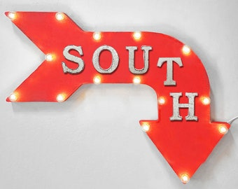 "On Sale! 24"" SOUTH Curved Metal Arrow Sign - Direction Compass North East West - Rustic Vintage Marquee Light Up"