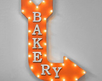 "ON SALE! 36"" BAKERY Bake Muffins Pastries Bread Sweets Treats Candy Store Yum Double Sided Plug-In Rustic Metal Marquee Light Up Sign Arrow"