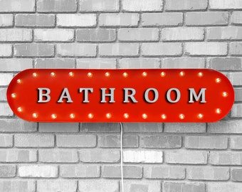 """On Sale! 39"""" BATHROOM Metal Oval Sign - Bath Room Restroom Potty Toilet Mens Womens Womans - Vintage Style Rustic Marquee Light Up"""