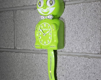 Limited Edition! Official LIME GREEN Kit Cat Clock - Gentlemen Male Boy Chartreuse - Jeweled Swarovski Crystals Kit Kat Cat Clock Klock