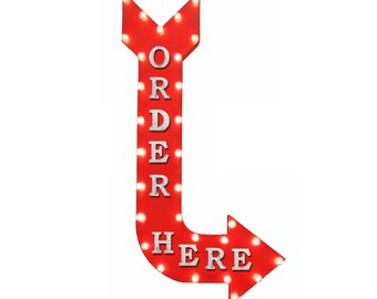 "On Sale! 48"" ORDER HERE Metal Arrow Sign - Pay Here Food Pick Up To Go - Vintage Rustic Curved Marquee Light Up"