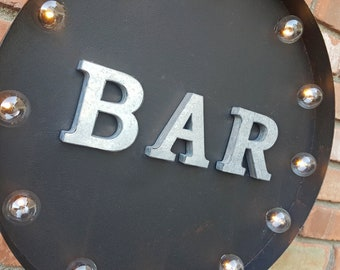 "On Sale! 20"" BAR Round Metal Sign - Plugin or Battery Operated - Pub Beer Wine Restaurant Drinks - Rustic Vintage Marquee Light Up"