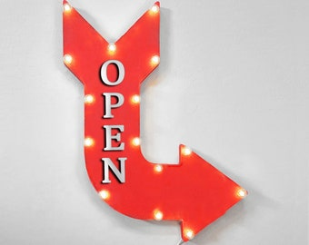 """On Sale! 24"""" OPEN Curved Metal Arrow Sign - Now 24 Hours Come In Store Entrance - Plugin, Battery or Solar - Rustic Vintage Light Up Marquee"""