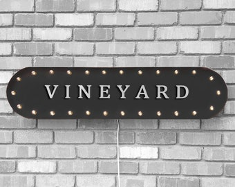 """On Sale! 39"""" VINEYARD Metal Oval Sign - Wine Winery Grapes Glass Alcohol - Vintage Style Rustic Marquee Light Up"""