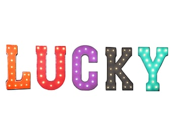 "On Sale! 21"" LUCKY Metal Sign - Plugin, Battery or Solar - Good Luck Gamble Winner Winning - Rustic Vintage Style Marquee Light Up Letters"