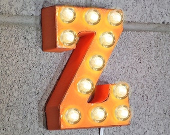 "ON SALE 7"" Letter Z - Small Rustic Metal Marquee LED Plug-In Sign Alphabet Light Up - 21 Colors!"