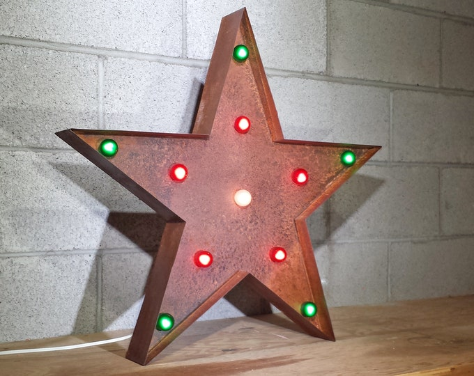 "Featured listing image: On Sale! 24"" Large Metal Christmas STAR - Plugin - Nostalgic Rustic Marquee Happy Holidays Light Up Sign Vintage Cookie Cutter Shape"