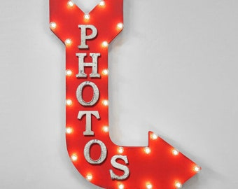 """ON SALE! 36"""" PHOTOS Photo Booth Smile Camera Plug-In or Battery Operated led Open Light Up Large Rustic Metal Marquee Sign Arrow"""