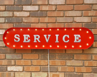 """On Sale! 39"""" SERVICE Metal Oval Sign - Fix Repair Maintain Check Favor Kindness - Vintage Style Rustic Marquee Light Up"""