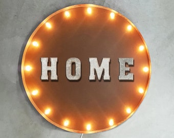 """On Sale! 30"""" HOME Round Metal Sign - Plugin or Battery Operated - House Heart Live Living Room Welcome - Rustic Vintage Marquee Light Up"""