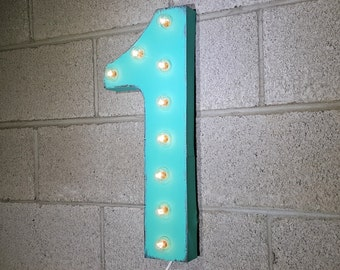 "On Sale! 21"" 1 Metal Sign - Number 1 One Uno Numero 0 1 2 3 4 5 6 7 8 9 Free Standing or Hang - Rustic Vintage Marquee LED Light Up"