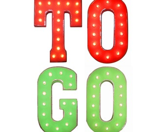 On SALE! TO GO ToGo Pickup Food Restaurant Take Out Free Standing or Hang. Rustic Metal Vintage Marquee Sign Light Up Letters. 24 Colors.