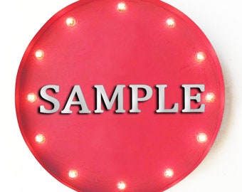 """On Sale! 20"""" SALE Round Metal Sign - Plugin or Battery Operated - Discount Bargain Red Tag Clearance - Rustic Vintage Marquee Light Up"""