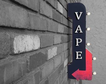"""On Sale! 30"""" VAPE Metal Arrow Sign - Plugin or Battery Operated - Smoke Shop Smoking Vaping - Double Sided Rustic Marquee Light Up"""