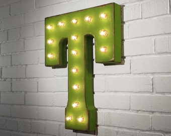 "On Sale! 21"" Letter T Metal Sign - Rustic Vintage Style Custom Marquee Light Up Alphabet Letters"
