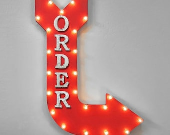 "On Sale! 36"" ORDER Metal Arrow Sign - Plugin or Battery Operated - Ticket Place Order Here Sales Services - Rustic Marquee Light up"