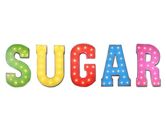 "On Sale! 21"" SUGAR Metal Sign - Sweets Treats Desert Sweet Candy - Free Standing or Hang - Rustic Vintage Style Marquee Light Up Letters"