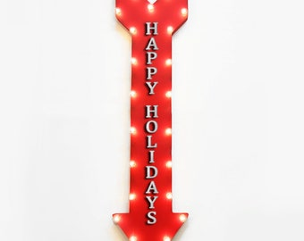 "On Sale! 48"" HAPPY HOLIDAYS Metal Arrow Sign - Christmas Seasons Greetings Santa - Plugin or Battery Operated led Rustic Light Up Marquee"