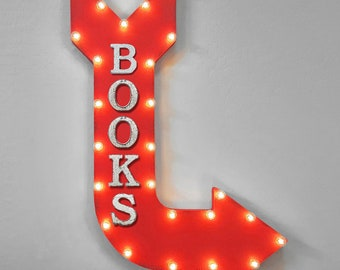 "On Sale! 36"" BOOKS Metal Arrow Sign - Plugin or Battery Operated - Book Club Library Read Reading School - Rustic Marquee Light up"