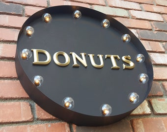 "On Sale! 20"" DONUTS Round Metal Sign - Plugin or Battery Operated - Doughtnut Doughnut Donut Coffee - Rustic Vintage Marquee Light Up"
