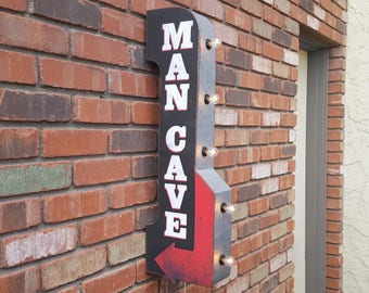 ON SALE! Plug-In or Battery. Man Cave Mancave Playroom Den Arrow. Double Sided Metal Vintage Style Rustic Marquee Light Up Sign