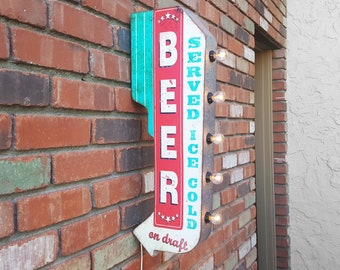 ON SALE! Plugin or Battery. Beer Served Ice Cold On Draft Double Sided Rustic Vintage Style Metal Marquee Light Up Bar Pub Sign