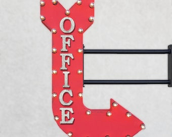 "On Sale! 36"" OFFICE Metal Arrow Sign - Desk Work Service Area Cubicle Private 9to5 - Double Sided Hang or Suspend - Rustic Marquee Light Up"