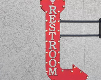 """On Sale! 48"""" RESTROOM Metal Arrow Sign - Bathroom Ladies Gents Womens Mens Toilet - Double Sided Hang or Suspend - Rustic Marquee Light Up"""