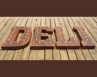 ON SALE! DELI Restaurant Diner Food Eat Cafe Sub Free Standing or Hang. Rustic Metal Vintage Style Marquee Sign Light Up Letters. 24 Colors.