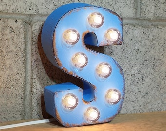 "ON SALE 7"" Letter S - Small Rustic Metal Marquee LED Plugin Sign Alphabet Light Up - 21 Available Colors!"
