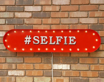 """On Sale! 39"""" #SELFIE Metal Oval Sign - Hashtag Take A Selfie Photo Picture Say Cheese Smile - Vintage Style Rustic Marquee Light Up"""