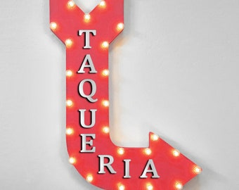 """On Sale! 36"""" TAQUERIA Metal Arrow Sign - Plugin, Battery or Solar - Tacos Burritos Mexican Food Restaurant Spicy - Rustic Marquee Light Up"""
