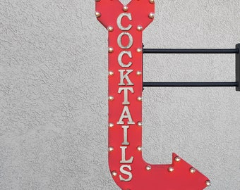 """On Sale! 48"""" COCKTAILS Metal Arrow Sign - Beer Wine Bar Alcohol Drinks Beverages - Double Sided Hang or Suspend - Rustic Marquee Light Up"""