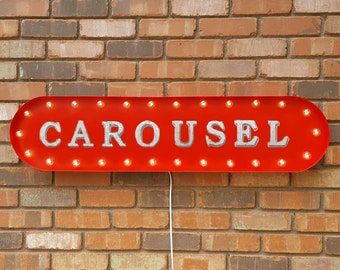 """On Sale! 39"""" CAROUSEL Metal Oval Sign - Fun Circus Rides Thrill Enjoy Spin - Vintage Style Rustic Marquee Light Up"""