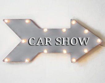 "On Sale! 24"" CAR SHOW Straight Metal Arrow Sign - Cars Auto Exhibit Exhibition Showcase Case Display - Rustic Vintage Marquee Light Up"
