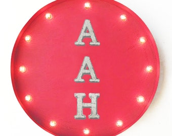 "On Sale! 20"" AAH Round Metal Sign - Plugin or Battery Operated - Ooh Wow Happy Peace Wonderful Relax - Rustic Vintage Marquee Light Up"