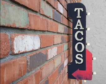 """On Sale! 30"""" TACOS Metal Arrow Sign - Plugin or Battery Operated - Taco Mexican Food Eat Burritos - Double Sided Rustic Marquee Light Up"""