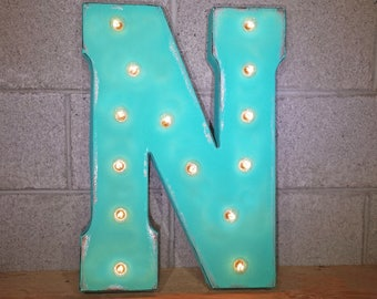ON SALE! Letter N. Battery Operated. Choose Rustic or Non-Rustic. Vintage Style Marquee LED Light Up Sign. Batteries Included!