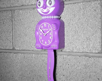 Limited Edition! Official ORCHID PURPLE Kit Cat Clock - Lady Girl Female - Jeweled Swarovski Crystals Kit Kat Cat Clock Klock
