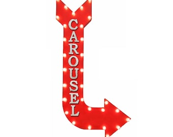 """On Sale! 48"""" CAROUSEL Metal Arrow Sign - Fun Amusement Theme Park Fair Ride Rides - Vintage Rustic Curved Marquee Light Up"""
