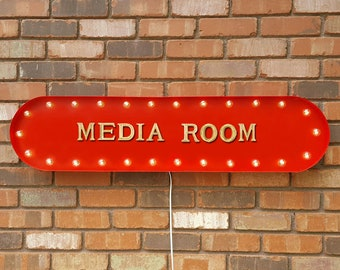 "On SALE! 39"" MEDIA ROOM Movie Home Theater Cinema Movie Movies Media tv Room Vintage Style Rustic Metal Marquee Light Up Sign - 22 Colors!"