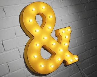 """ON SALE! 21"""" Metal Letter & Ampersand - Plugin, Battery Operated or Solar Powered - Rustic Vintage Style - Light Up Marquee Letter Sign."""
