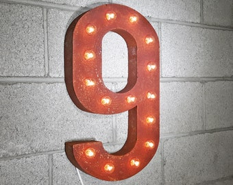ON SALE! Battery Operated Number 9 Nine. 21 Color Options! Hang or Free Stand. Rustic Metal Marquee Led Light Up Sign. 0 1 2 3 4 5 6 7 8 9