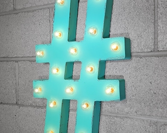 "On Sale! 21"" # Hashtag Metal Sign - Pound Hash Tag Symbol - Rustic Vintage Inspired Marquee Light Up"
