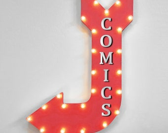 """On Sale! 36"""" COMICS Metal Arrow Sign - Plugin, Battery or Solar - Comic Book Store Magazine Vintage Super Hero  - Rustic Marquee Light Up"""