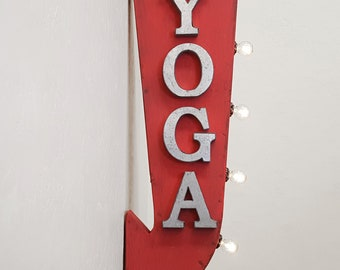 "On Sale! 25"" YOGA Metal Arrow Sign - Plugin or Battery Operated - Pilates Studio Meditate Gym - Double Sided Rustic Marquee Light Up"